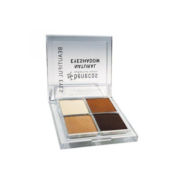 Sombra de ojos marrón Quattro Coffee & Cream ecológica de Benecos