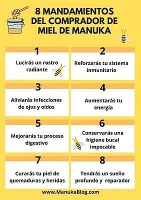 8 Mandamientos miel de manuka